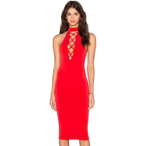 Tie Up Party Sexy Criss-cross Sleeveless Bandage Dress - CELEBRITYSTYLEFASHION.COM.AU - 3