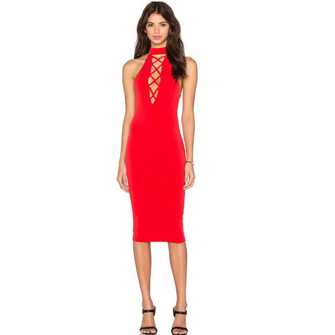 Tie Up Party Sexy Criss-cross Sleeveless Bandage Dress - CELEBRITYSTYLEFASHION.COM.AU - 5