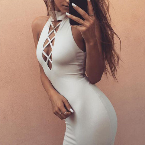 Tie Up Party Sexy Criss-cross Sleeveless Bandage Dress - CELEBRITYSTYLEFASHION.COM.AU - 1