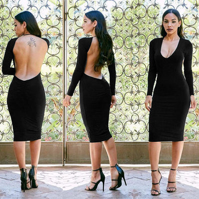 Deep V-neck Backless Party Long Sleeve Knee-length Dress - CELEBRITYSTYLEFASHION.COM.AU - 1