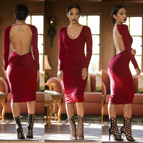 Deep V-neck Backless Party Long Sleeve Knee-length Dress - CELEBRITYSTYLEFASHION.COM.AU - 4