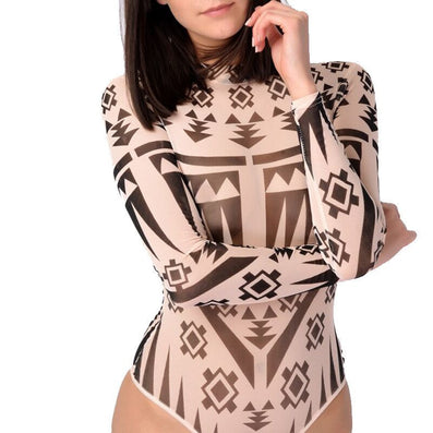 Sheer Mesh Tribal Tattoo Print Bodysuit Jumpsuit - CELEBRITYSTYLEFASHION.COM.AU - 2