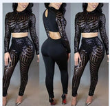 Women Crop Top + Pant Sequined O-Neck Playsuit Two Pieces Outfit - CELEBRITYSTYLEFASHION.COM.AU - 2