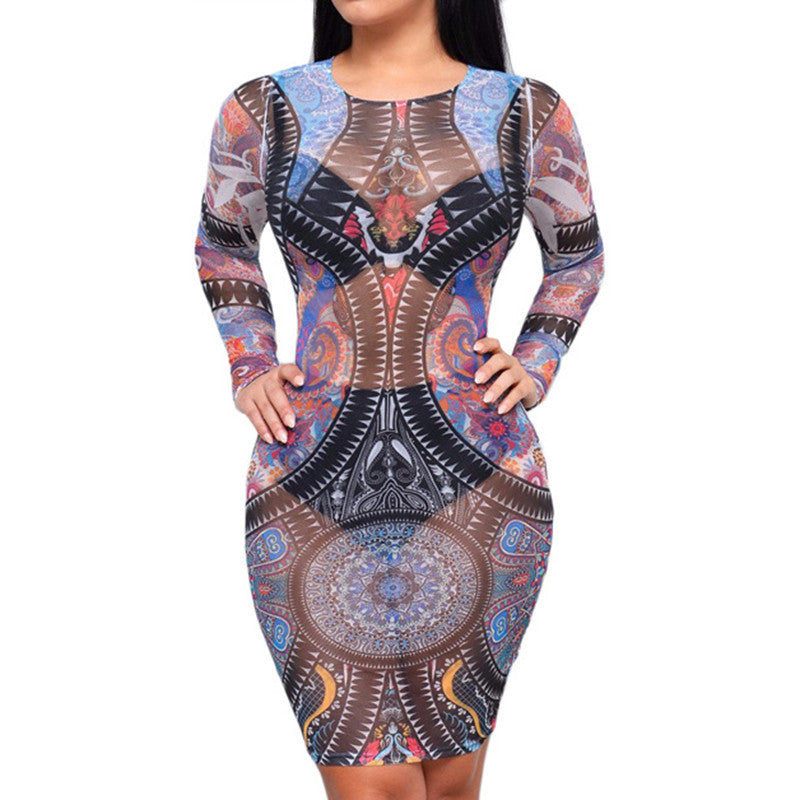 European Geometric Printing Mesh Sheer Party Dress - CELEBRITYSTYLEFASHION.COM.AU