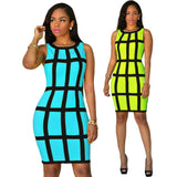 Sleeveless Bright Patchwork Mini Club Dress - CELEBRITYSTYLEFASHION.COM.AU - 1