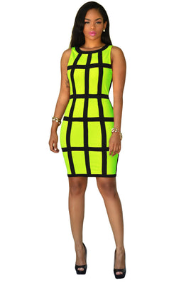Sleeveless Bright Patchwork Mini Club Dress - CELEBRITYSTYLEFASHION.COM.AU - 2