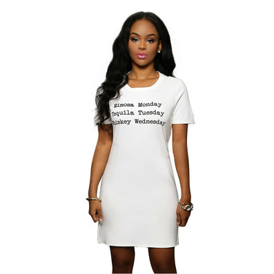 Slit Sides O Neck White Letter Printing Mini Casual Dress - CELEBRITYSTYLEFASHION.COM.AU - 2