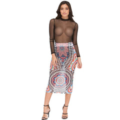 Tribal Tattoo Sheer Mesh Print Skirts Elegant Slim High Waist Skirts Vintage Kim Kardashian Style - CELEBRITYSTYLEFASHION.COM.AU - 1