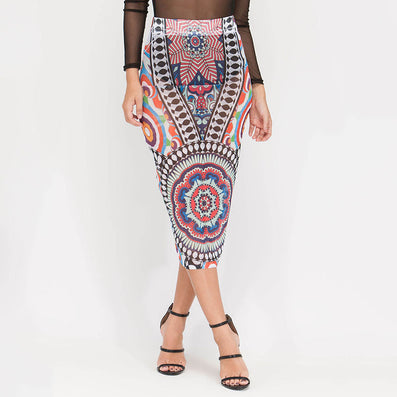 Tribal Tattoo Sheer Mesh Print Skirts Elegant Slim High Waist Skirts Vintage Kim Kardashian Style - CELEBRITYSTYLEFASHION.COM.AU - 2
