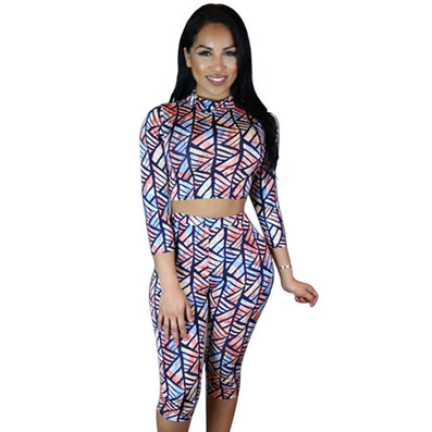Two Piece Outfit High Waist Print Knee Length Jumpsuit Bodysuit - CELEBRITYSTYLEFASHION.COM.AU