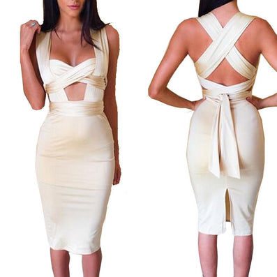 Sleeveless Extra-long Straps Dress Front Cross Cut Out - CELEBRITYSTYLEFASHION.COM.AU - 2