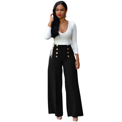 Two Piece Outfit Bodysuit Jumpsuit Long Wide Pants 2 Piece Set Button Criss Cross Playsuit - CELEBRITYSTYLEFASHION.COM.AU - 2