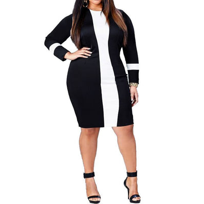 Plus Size Long Sleeve O-neck Black White Bandage Party Dress - CELEBRITYSTYLEFASHION.COM.AU