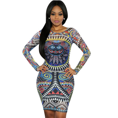 Colorful Sheer Mesh Printed Dress Long Sleeve Party Dress - CELEBRITYSTYLEFASHION.COM.AU - 2