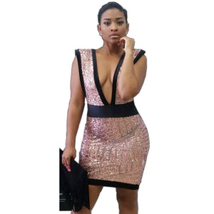 Geometric Backless Sequins Deep Plunge Zipped Back Mini Party Dress - CELEBRITYSTYLEFASHION.COM.AU - 2