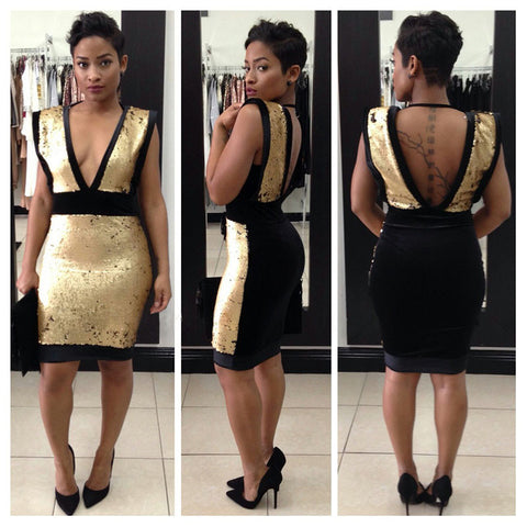 Geometric Backless Sequins Deep Plunge Zipped Back Mini Party Dress - CELEBRITYSTYLEFASHION.COM.AU - 1