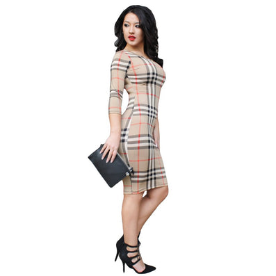 Plaid Elegant Mid Dress - CELEBRITYSTYLEFASHION.COM.AU - 2