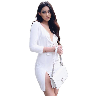 Slit Sides Tie V-neck White Mini Party Dress - CELEBRITYSTYLEFASHION.COM.AU