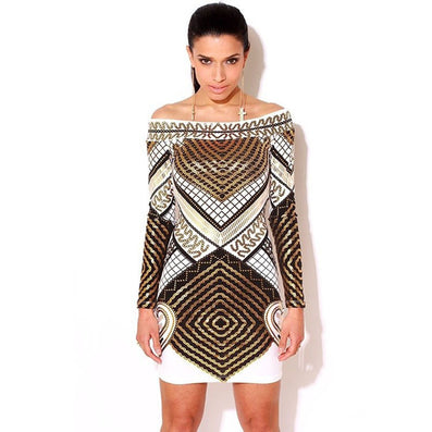 Digital Print Long Sleeve Elegant Party Dress Kendall Jenner Style - CELEBRITYSTYLEFASHION.COM.AU - 2