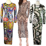 Exotic Designer Retro Sheer Mesh Colorful Printed Dress - CELEBRITYSTYLEFASHION.COM.AU - 1