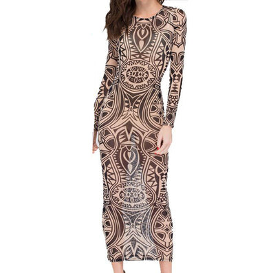Exotic Designer Retro Sheer Mesh Colorful Printed Dress - CELEBRITYSTYLEFASHION.COM.AU - 2