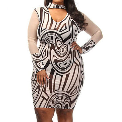 Plus Size XL XXL XXXL Printed Bandage Stretch Party Dress - CELEBRITYSTYLEFASHION.COM.AU