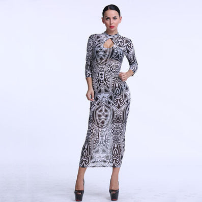 Vintage Tribal Tattoo Print Mesh Maxi Pencil Dress - CELEBRITYSTYLEFASHION.COM.AU - 2