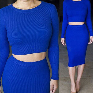 Two Piece Outfit Knitted Winter Bandage Elastic Dress - CELEBRITYSTYLEFASHION.COM.AU - 2