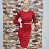 Two Piece Outfit Knitted Winter Bandage Elastic Dress - CELEBRITYSTYLEFASHION.COM.AU - 6