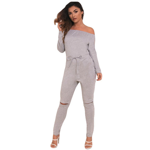 Slash Long Sleeve Bodysuit Jumpsuit - CELEBRITYSTYLEFASHION.COM.AU - 1