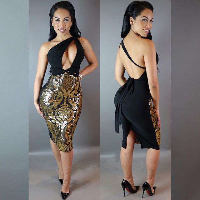 Backless Slit Formal Sequined Party Dress - CELEBRITYSTYLEFASHION.COM.AU - 2