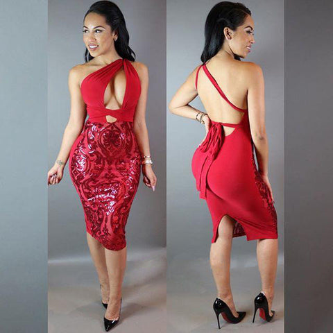 Backless Slit Formal Sequined Party Dress - CELEBRITYSTYLEFASHION.COM.AU - 3
