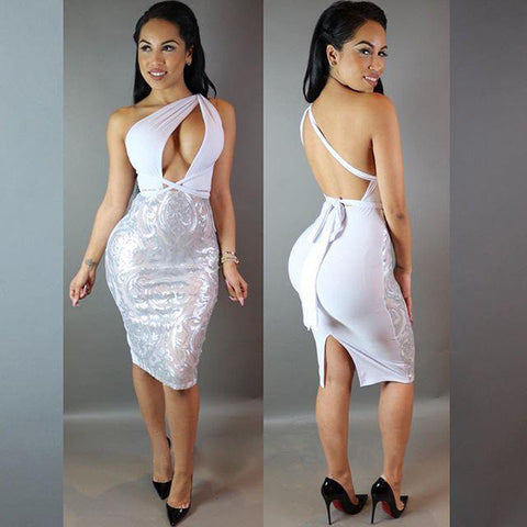 Backless Slit Formal Sequined Party Dress - CELEBRITYSTYLEFASHION.COM.AU - 4