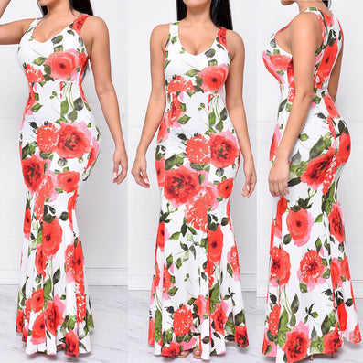 Flower Sun O-neck Long Maxi Dress - CELEBRITYSTYLEFASHION.COM.AU - 2