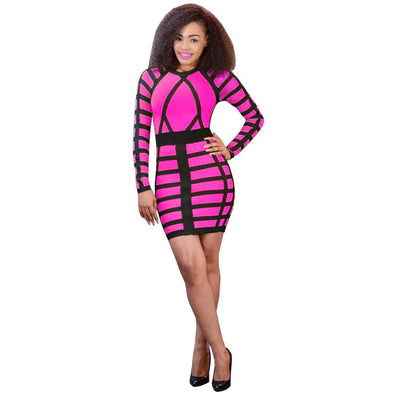 Bandage O-neck Striped Party Mini Dress - CELEBRITYSTYLEFASHION.COM.AU - 2