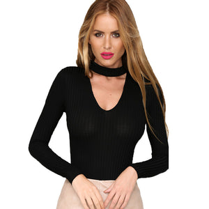Deep V-neck Sexy Ribbed Leotard Long Sleeve Crop Top - CELEBRITYSTYLEFASHION.COM.AU - 2