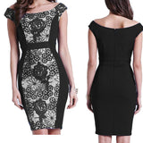 Lace Crochet Black Floral Dress - CELEBRITYSTYLEFASHION.COM.AU - 1