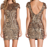 Sequined Tight O-neck Backless Party Dress - CELEBRITYSTYLEFASHION.COM.AU - 1