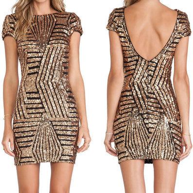 Sequined Tight O-neck Backless Party Dress - CELEBRITYSTYLEFASHION.COM.AU - 2