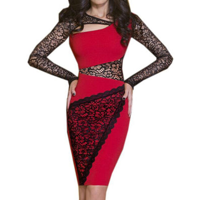 Lace Floral Crochet Black Red Bandage Pencil Dress - CELEBRITYSTYLEFASHION.COM.AU