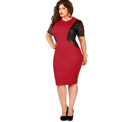 Black Lace Patchwork Party Red Faux Leather Dress - CELEBRITYSTYLEFASHION.COM.AU