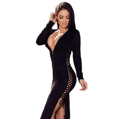 Deep Plunge Zipper Long Sleeve Slit Dress - CELEBRITYSTYLEFASHION.COM.AU