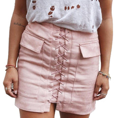 Slim High Waist Lace Up Suede Skirt - CELEBRITYSTYLEFASHION.COM.AU - 1