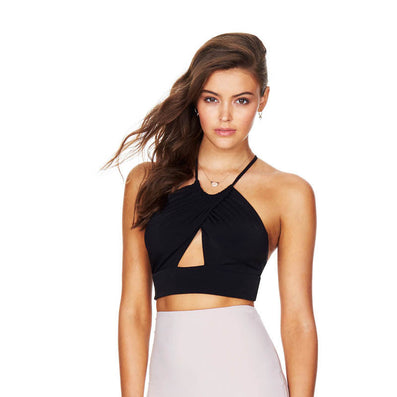 Short Lace Up Crop Bandage Top - CELEBRITYSTYLEFASHION.COM.AU - 2