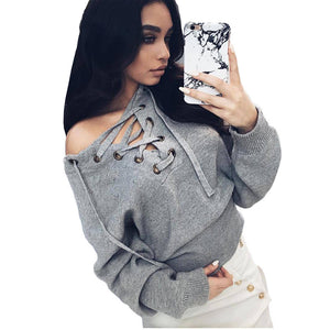 Knitted Sweater And Pullover Sexy V Neck - CELEBRITYSTYLEFASHION.COM.AU - 1