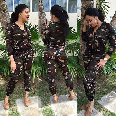 Camouflage Two Piece Playsuit Elegant Jumpsuit - CELEBRITYSTYLEFASHION.COM.AU - 2