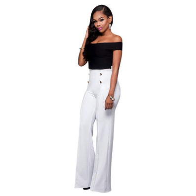 Black White Button Two Piece Bodysuit Long Pants Jumpsuit - CELEBRITYSTYLEFASHION.COM.AU - 1