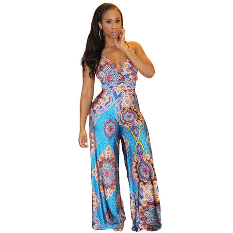 Bohemian Printed Deep V-neck Vintage Elegant Jumpsuit Long Pants Bodysuit - CELEBRITYSTYLEFASHION.COM.AU - 1