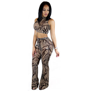 Two Piece Geometric Printed Jumpsuit Long Pants Bandage With Crop Top - CELEBRITYSTYLEFASHION.COM.AU - 1