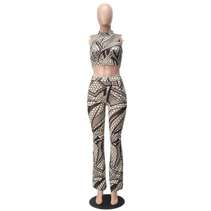 Two Piece Geometric Printed Jumpsuit Long Pants Bandage With Crop Top - CELEBRITYSTYLEFASHION.COM.AU - 2